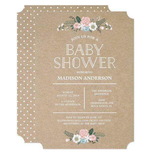 sweet floral | baby shower invitation | mimoprints, Baby shower invitations