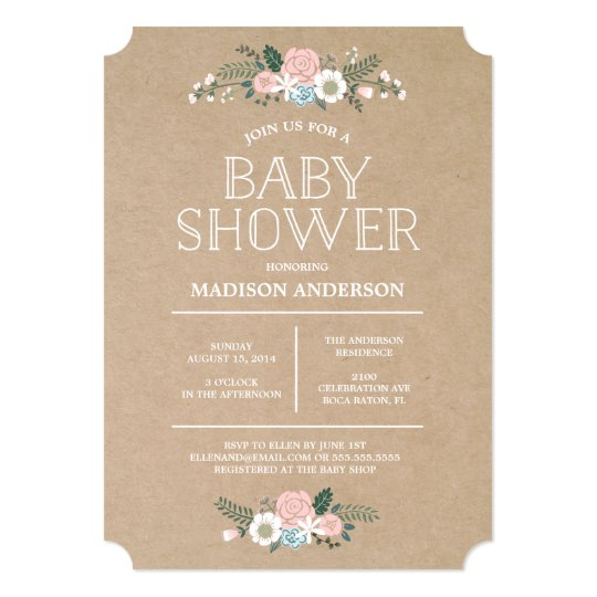 sweet floral | baby shower invitation | zazzle, Baby shower invitations