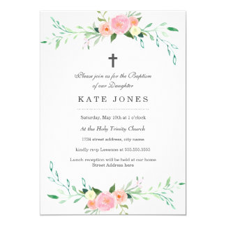 Baptism cards greeting photo cards zazzle sweet floral baptism invitation stopboris