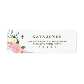 Sweet Floral Baptism Return Address Label