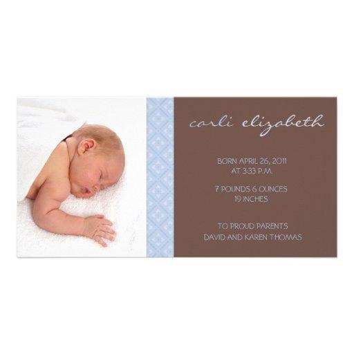 Sweet Floral Birth Announcement Photo Card-blue