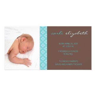 Sweet Floral Birth Announcement Photo Card-turq