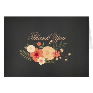 Sweet Floral Chalkboard Thank You Card