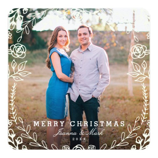 Sweet Floral Holiday Photo Card