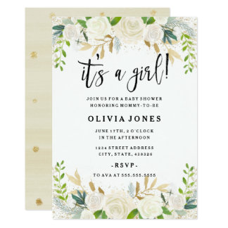 Sweet Floral Its a Girl Baby Shower Invitation