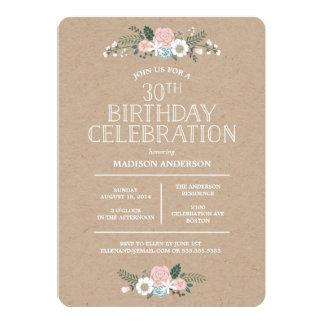 Sweet Floral Kraft | Birthday Party Invitation