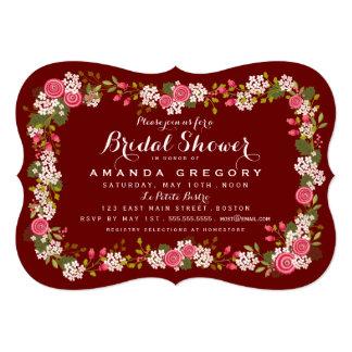 Sweet Floral Marsala Bridal Shower Invitation