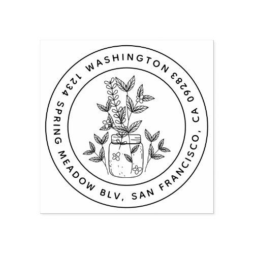 Sweet Floral Mason Jar Round Family Return Address Rubber Stamp