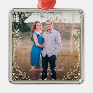 Sweet Floral Monogram Holiday Ornament