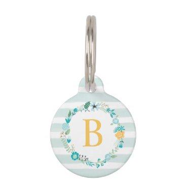 Beach Themed Sweet Floral Monogram Pet Tag