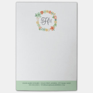 Sweet Floral Monogram Post-It Notes