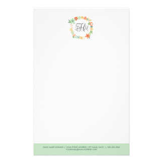 Sweet Floral Monogram Stationery