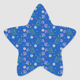 Sweet Floral Pattern Purple and Cobalt Blue Star Sticker