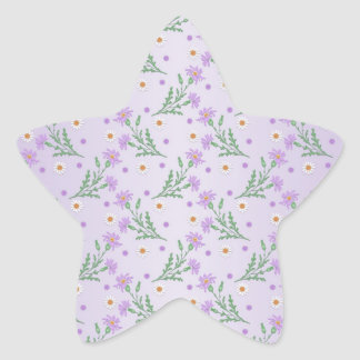 Sweet Floral Pattern Purple and Lavender Star Sticker