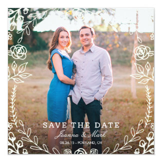 Sweet Floral Photo Save the Date 5.25x5.25 Square Paper Invitation Card