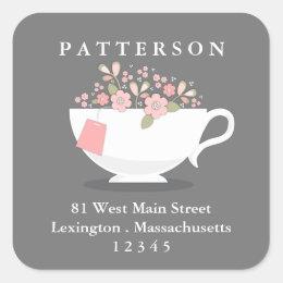Sweet Floral Teacup Tea Time Return Address Label