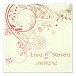 "Sweet Floral Wedding Invitation 5.25"" Square Invitation Card"