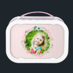 """Sweet Floral Wreath Photo Lunch Box<br><div class=""""desc"""">Adorable floral design can be personalized with your child&#39;s photo for a one of a kind design.</div>"""