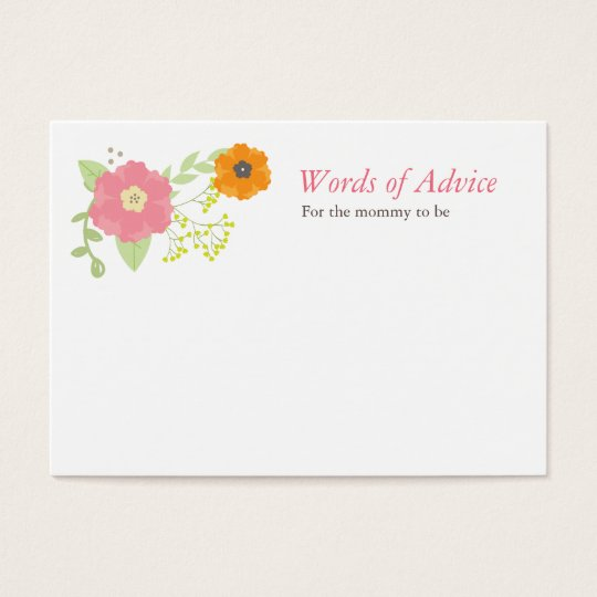 Sweet Flower Garden Mommy Advice Cards