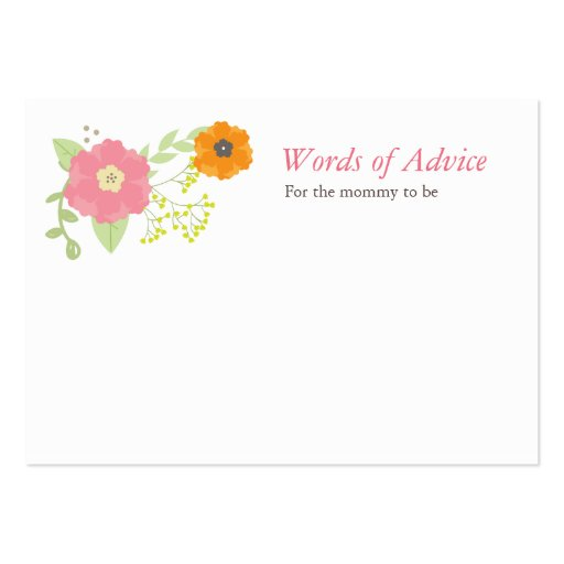 Sweet Flower Garden Mommy Advice Cards Business Card