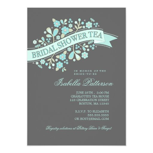 "Sweet Flowers Bridal Shower Tea Party Invitation 5"" X 7"" Invitation Card"