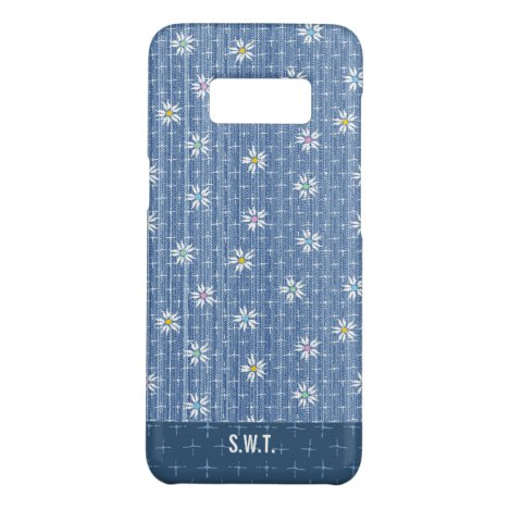 Sweet flowers on grainy faded blue denim look Case-Mate samsung galaxy s8 case