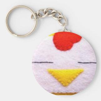 Sweet fluffy chicken basic round button keychain