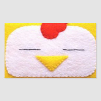 Sweet fluffy chicken rectangular sticker