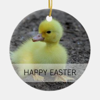 Sweet Fluffy Duckling Yellow Ceramic Ornament