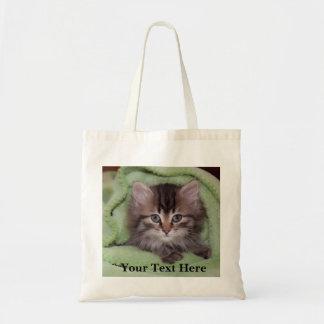 Sweet, Fluffy Grey Kitten in Green Blanket Tote