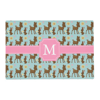 Sweet Forest Animals Monogrammed Laminated Place Mat