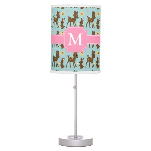 Sweet Forest Animals Pattern Monogram Table Lamp
