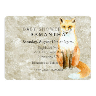 Sweet Fox Baby Shower Card