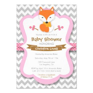 Sweet Fox Pink Baby Shower Invitation