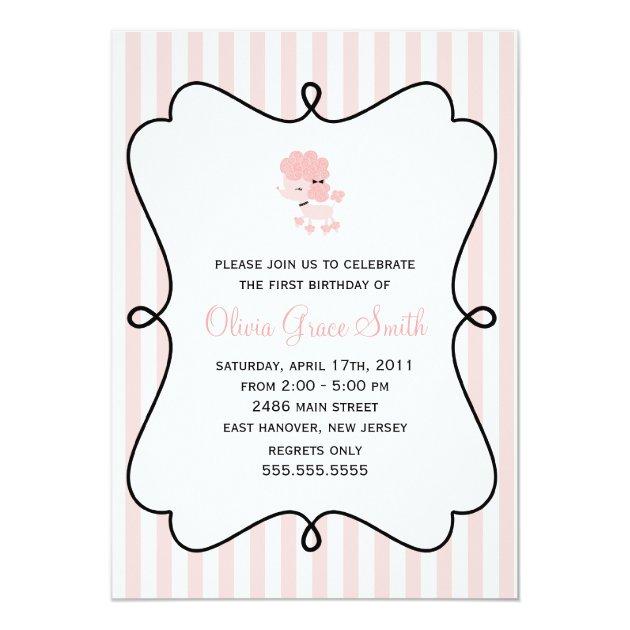 Safari animal birthday party invitations for kids sweet french poodle girls birthday party invitation stopboris Gallery