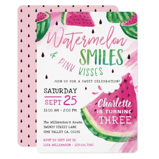 sweet fruity watermelon birthday party invitation zazzle com