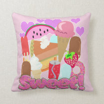 Sweet Fun Desserts Throw Pillow