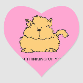SWEET FURRY CAT - IM THINKING OF YOU-HEART STICKER