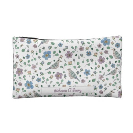 Sweet Garden and Birds Pattern Add Your Name Cosmetic Bag