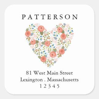 Sweet Garden Floral Heart Return Address Label