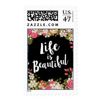 Sweet Garden Floral Life is Beautiful Postage