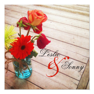 "Sweet Gerber Daisy & Roses Wedding Invitation 5.25"" Square Invitation Card"