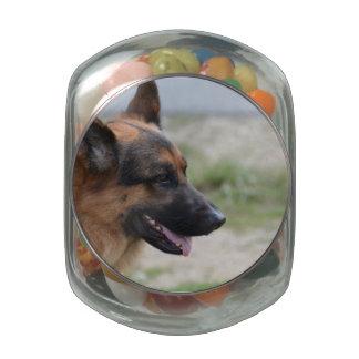 Sweet German Shepherd Dog Glass Candy Jar