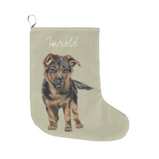 Sweet German Shepherd Puppy Drawing Large Christmas Stocking