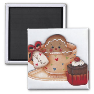 Sweet Ginger in a Cup 2 Inch Square Magnet