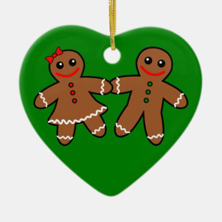 Sweet Gingerbread Couple Ceramic Ornament