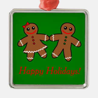 Sweet Gingerbread Couple Metal Ornament