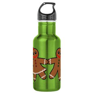 Sweet Gingerbread Couple Stainless Steel Water Bottle