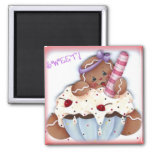 Sweet Gingerbread Dessert 2 Inch Square Magnet