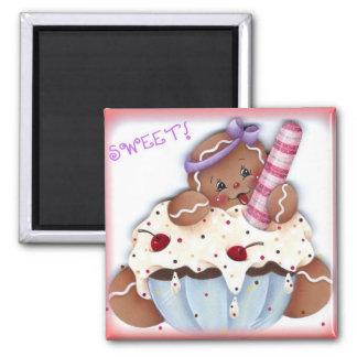 Sweet Gingerbread Dessert 2 Inch Square Magnet